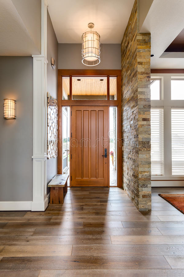 Entryway/Foyer In New Luxury Home Stock Photo