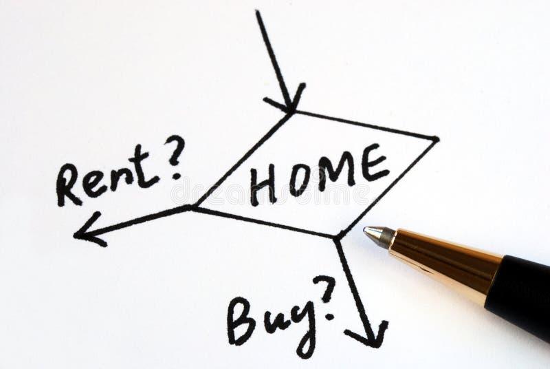 Entscheiden Sie, ob man für das Haus kauft oder mietet? lizenzfreies stockbild