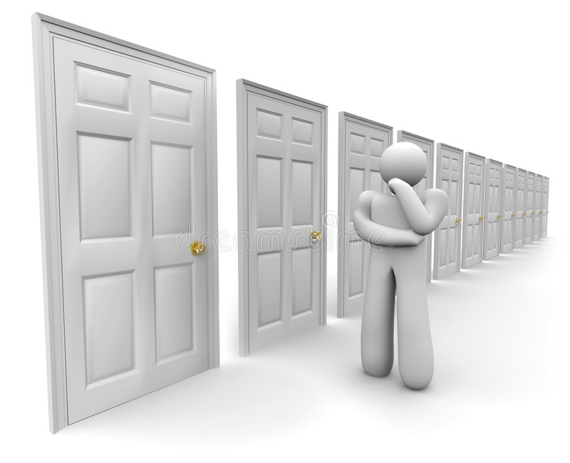 Entscheidung welcher Tür, um zu wählen stock abbildung