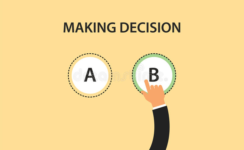 Entscheidungskonzeptsymbol mit zwei Wahl a und b machend mit der Hand, wählen Sie ein von ihm lizenzfreie abbildung