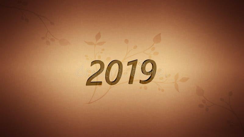Entschließungskonzept 2019 des neuen Jahres Wortzusammenfassung in der Weinlesebriefbeschwerer-Holzart Blöcke gegen Schmutzhinter lizenzfreie abbildung