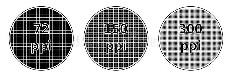 Entschließungsschirmpixel-Dichte ppi lizenzfreie abbildung