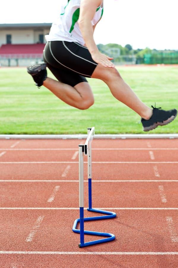 Entschlossener männlicher Athlet, der über Hecke springt lizenzfreie stockfotos