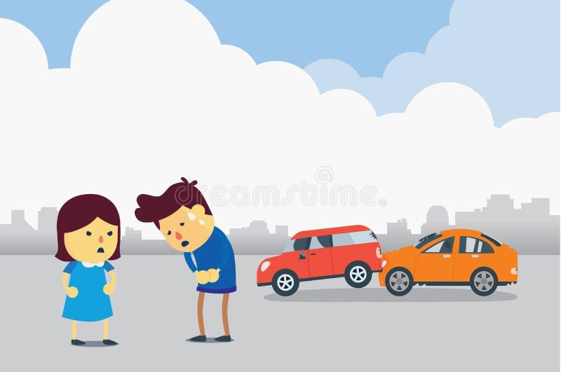 Entschuldigt sich für Autounfall lizenzfreie abbildung