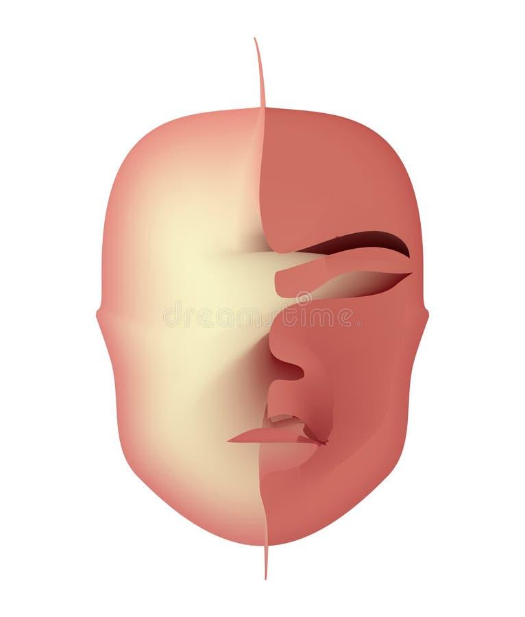Entsetzliche Maske des schrecklichen Gesichtes des Bluts schreckliche Sachen bei Halloween lizenzfreie abbildung