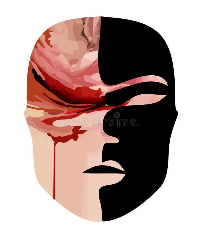 Entsetzliche Maske des schrecklichen Gesichtes des Bluts schreckliche Sachen bei Halloween vektor abbildung