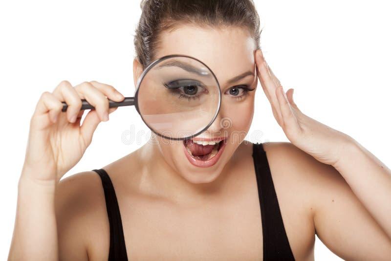 Entsetzte Frau stockfotos