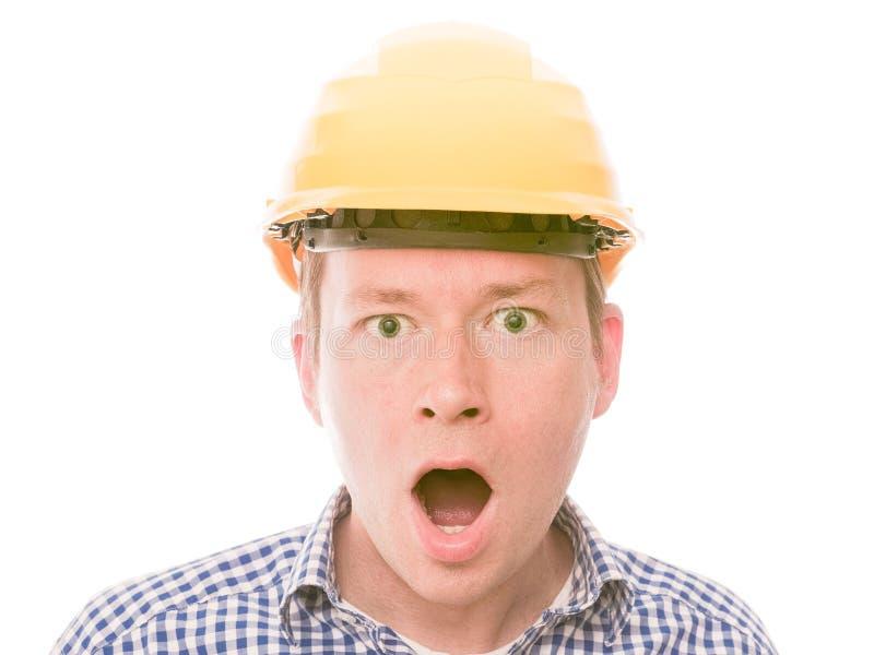Entsetzter Bauarbeiter stockfotografie