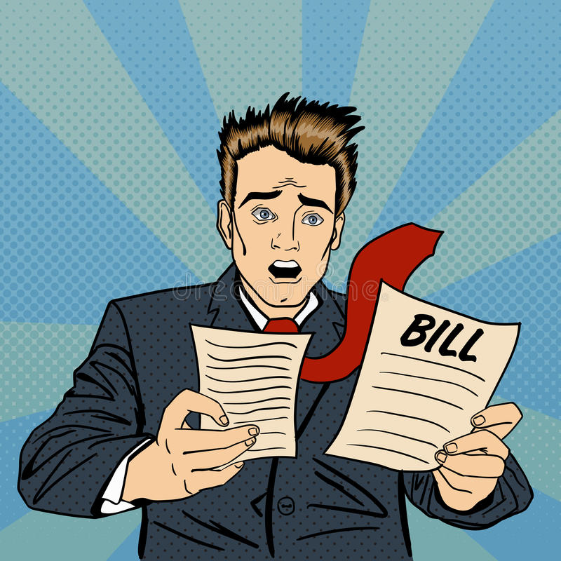 Entsetzter Mann Frustrierter Geschäftsmann Checking Financial Documents lizenzfreie abbildung
