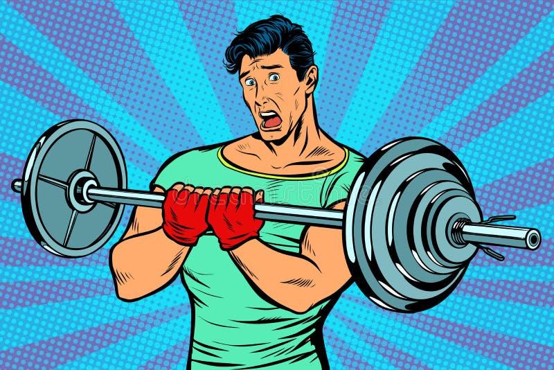 Entsetzter Mann mit einem Barbell in der Turnhalle vektor abbildung