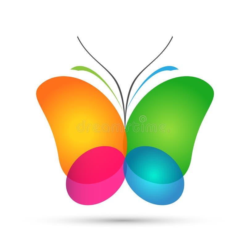 Entspannen sich bunter Schönheitsbadekurort des Schmetterlingslogos Liebesflügelyogalebensstilzusammenfassungs-BUikonenelement-Lo lizenzfreie abbildung