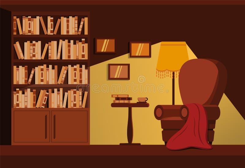 Entspannen Sie bei einem Buch und einer Tasse Kaffee vektor abbildung