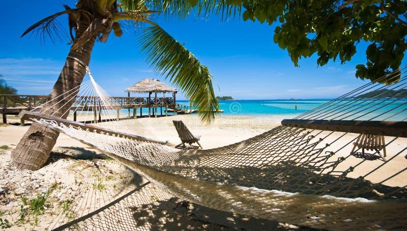 Entspannen Sie sich auf einem tropischen Strand! stockbild