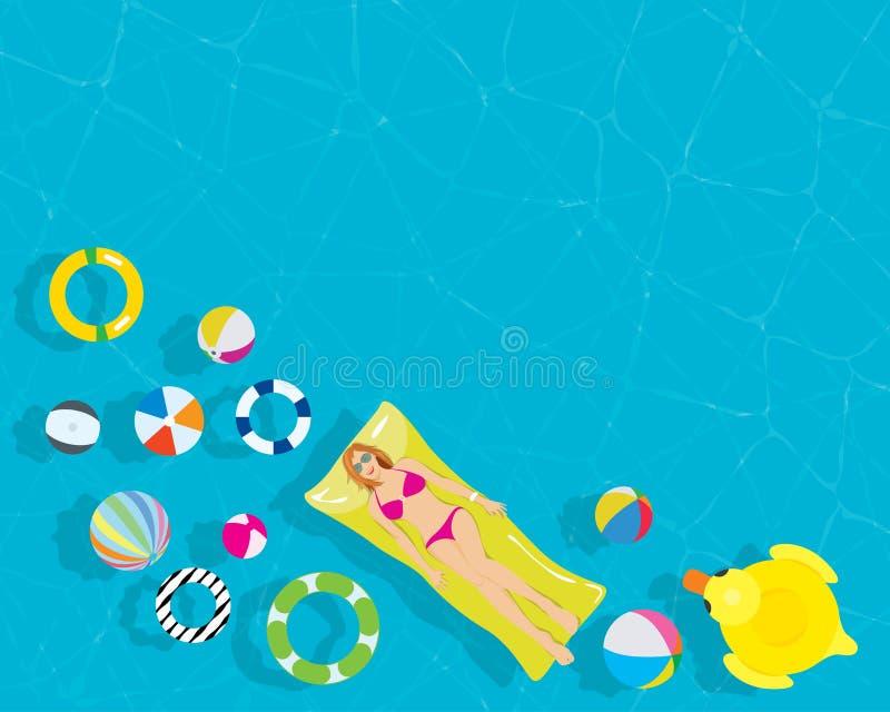 Entspannen Sie sich junge Frau mit buntem Schwimmenring-Wasserball im ErholungsortSwimmingpool stock abbildung