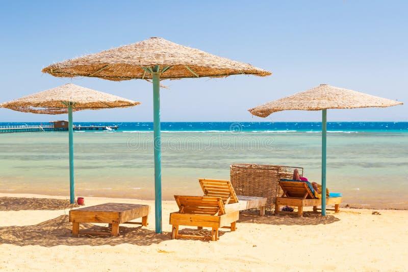 Entspannen Sie sich unter Sonnenschirm auf dem Strand von Rotem Meer lizenzfreie stockfotografie