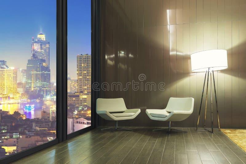 Entspannende Ecke zu Hause oder Büro, leeres Sofa mit Lampe im Raum lizenzfreie stockfotos