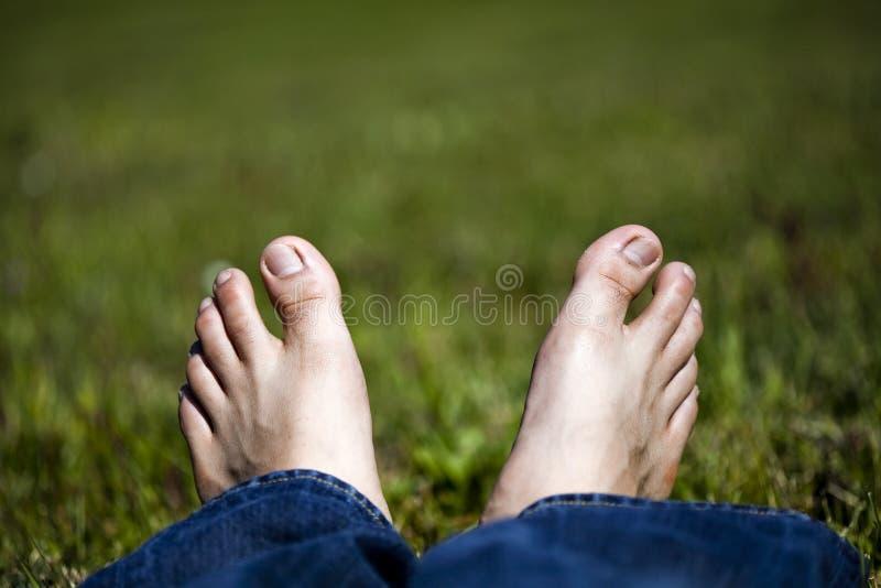 Entspannende Füße auf Gras stockbilder