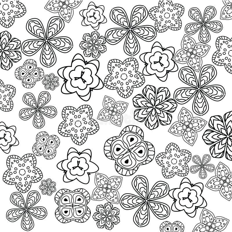 Entspannende Farbtonseite mit Blumen für Kinder und Erwachsene, Kunsttherapie, Meditationsmalbuch lizenzfreie abbildung
