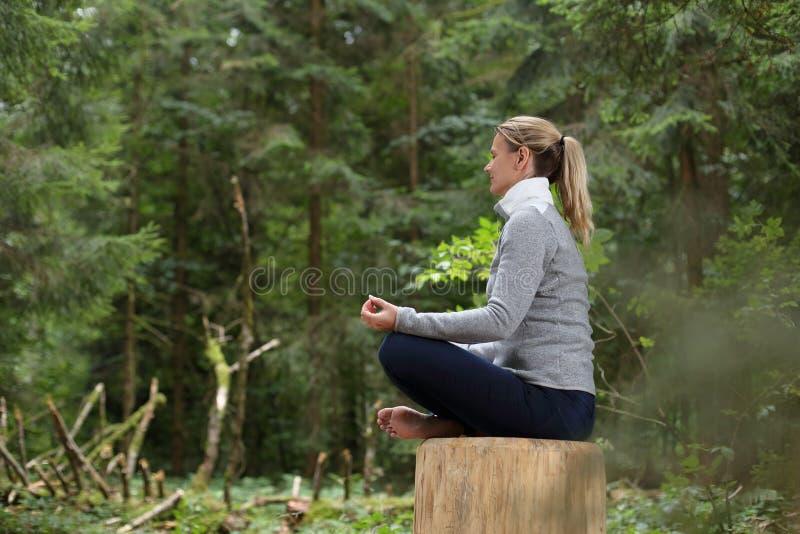 Entspannende Meditation der Frau in einem Wald stockfoto