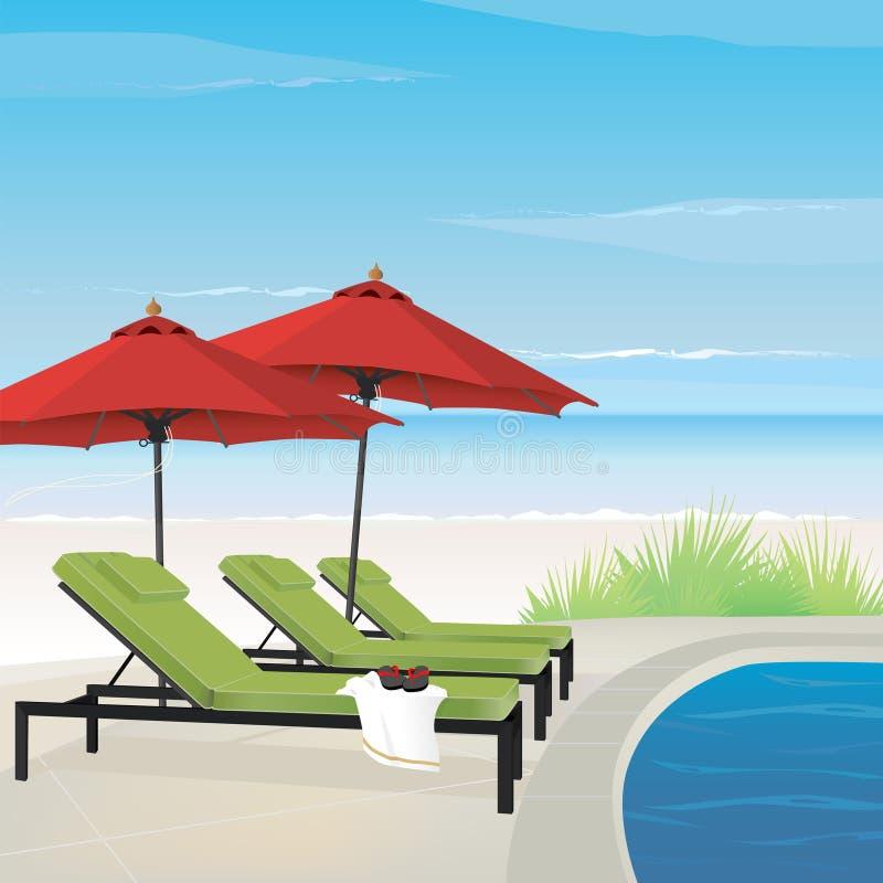 Entspannende Rücksortierung auf Strand lizenzfreie abbildung
