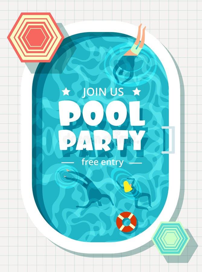 Entspannender Mann und Frau in den Sommerferien Schwimmenpool-party-Vektorhintergrund vektor abbildung