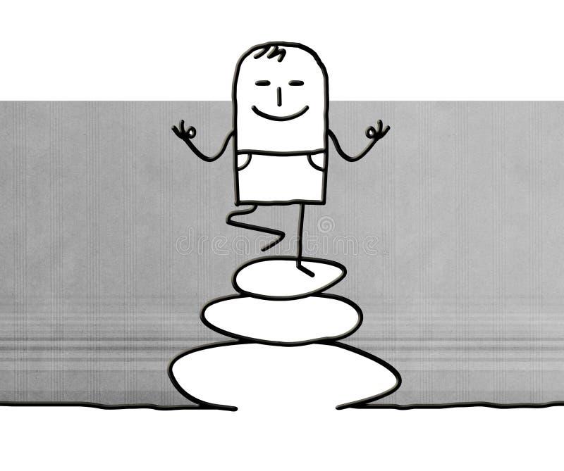 Entspannender Yogamann der Karikatur auf Steinen vektor abbildung