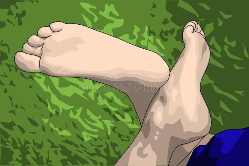 Entspannte Füße auf Gras stockfotografie