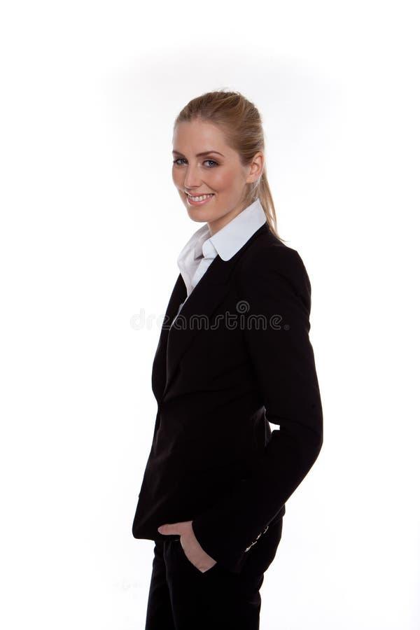 Entspannte glückliche Geschäftsfrau stockbilder