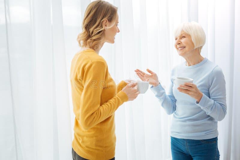 Entspannte nette Verwandte, die Tee trinken und ein angenehmes Gespräch haben lizenzfreie stockbilder