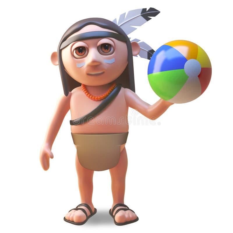 Entspannter gebürtiger indianischer Mann spielt mit einem beachball, Illustration 3d lizenzfreie abbildung