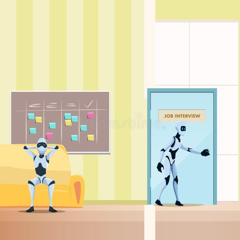 Entspannter Roboter auf Sofa, m?nnlicher Bot-Weg in T?r lizenzfreie abbildung