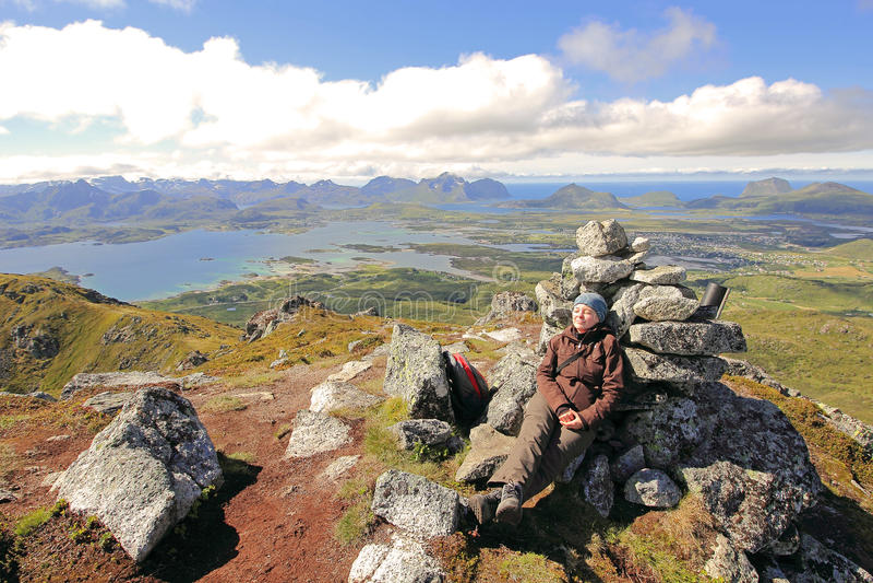 Entspannung auf dem Gipfel stockfoto
