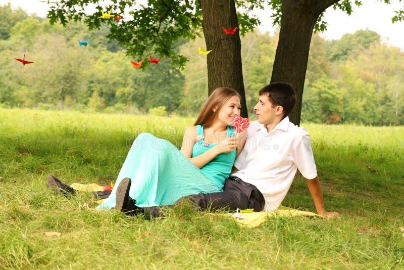 Download Entspannung auf dem Gras stockbild. Bild von flirt, aktivität - 27727839