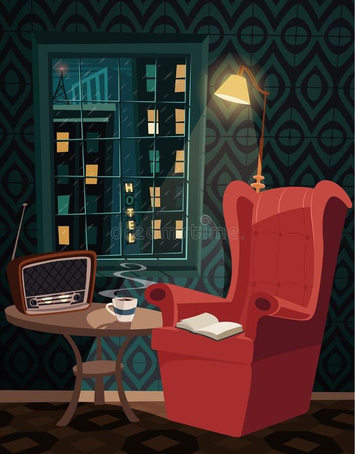 Entspannung mit einem Buch und einem Tasse Kaffee und Hören Radio am regnerischen Abend lizenzfreie abbildung