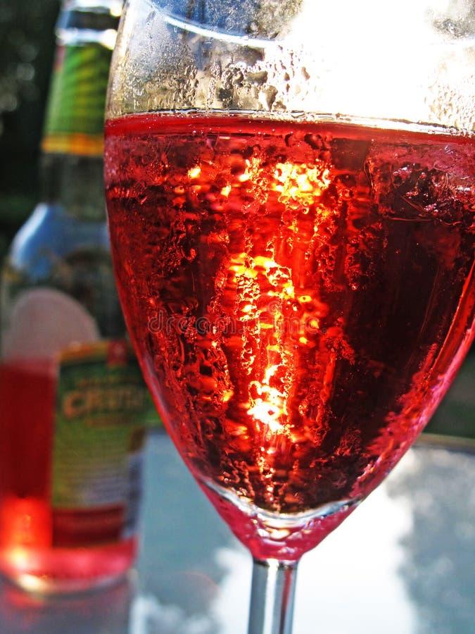 Entspannung mit einem roten Getränk gemacht vom Apfelwein in der Sommerhitze stockfotografie