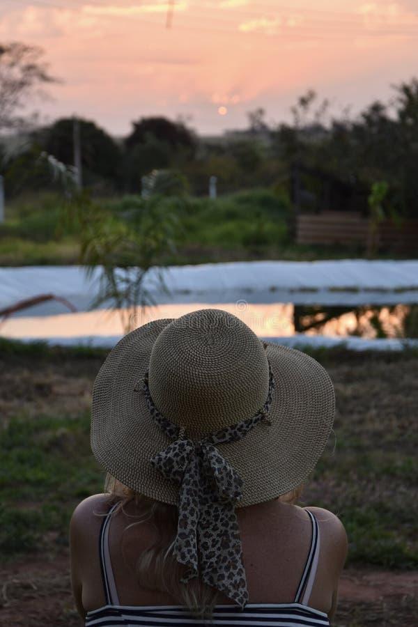 Entspannung und den Sonnenuntergang in Brasilien aufpassend stockbild