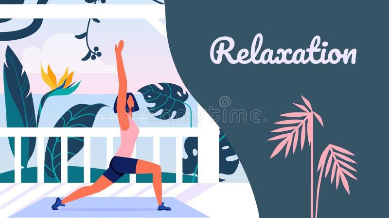 Entspannung Yoga-Training im Freien Klassen-Freilicht vektor abbildung