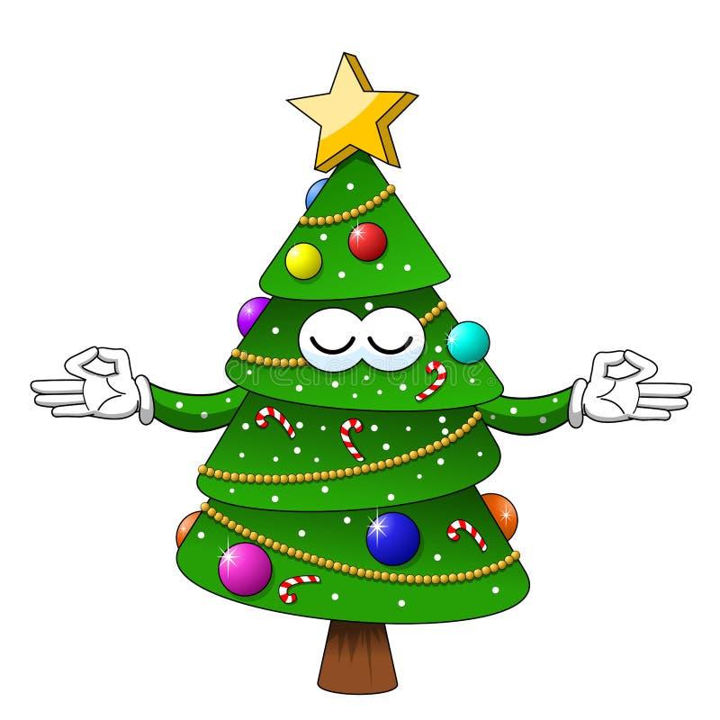 Entspannungscharakter der glückliches Weihnachtsweihnachtsbaum-Meditation lokalisiert vektor abbildung