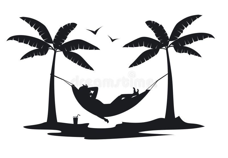 Entspannungslügen der Person in der Hängematte auf dem Strand unter Palmen vektor abbildung