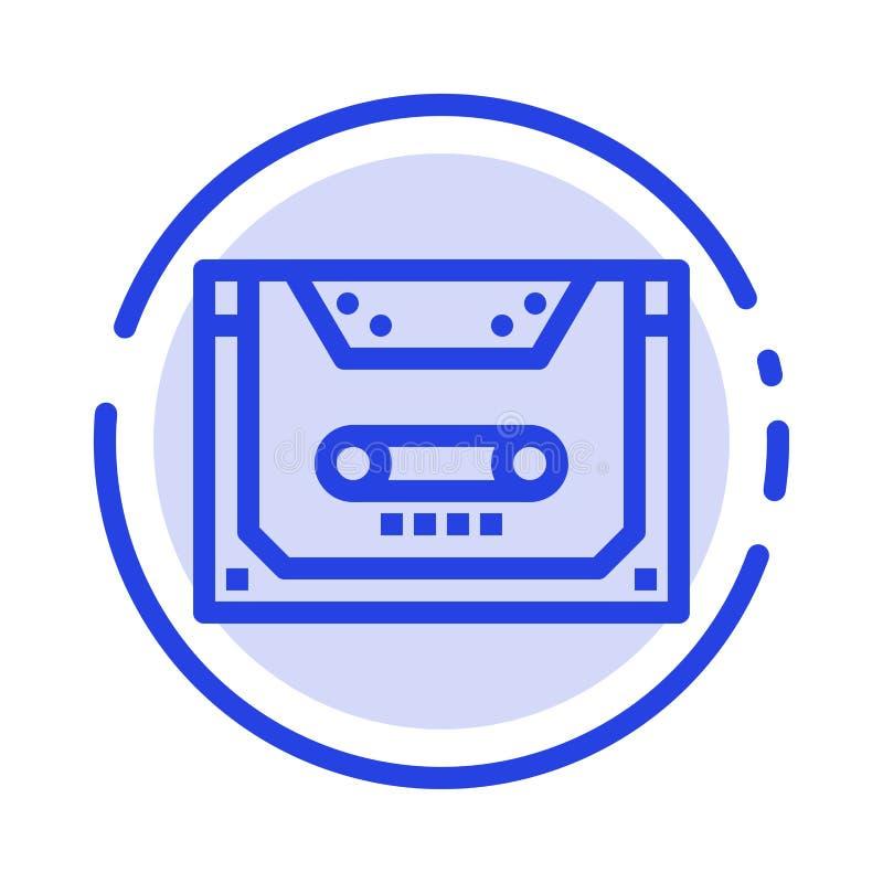 Entsprechung, Audio, Kassette, Vertrag, Linie Ikone der Plattform-blauen punktierten Linie vektor abbildung