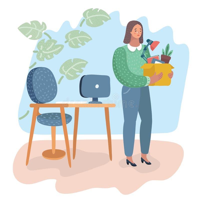 Enttäuschte Frau, die Kasten mit Eigentum hält lizenzfreie abbildung