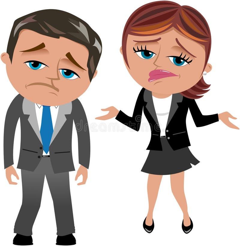 Enttäuschte Geschäftsfrau und Mann