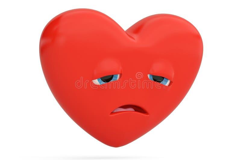 Enttäuschter Herz Emoticon mit Herz emoji Abbildung 3D lizenzfreie abbildung