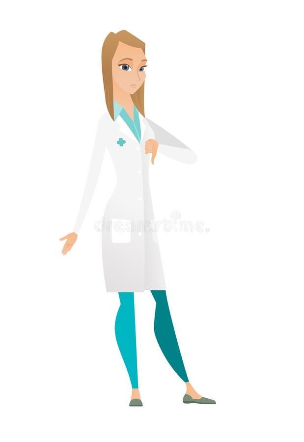 Enttäuschter kaukasischer Doktor mit dem Daumen unten lizenzfreie abbildung