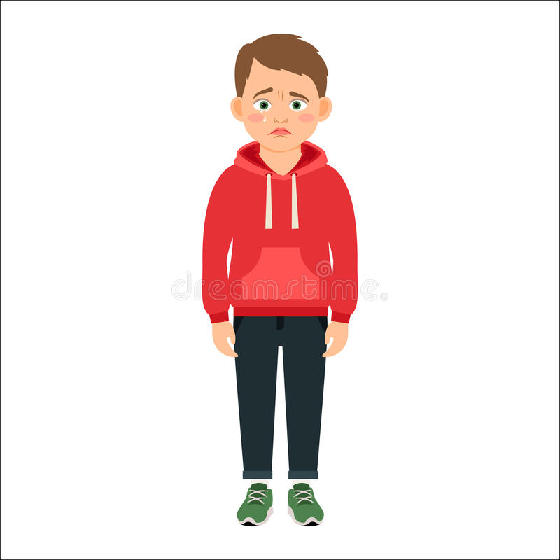 Enttäuschter kleiner Junge im roten Hoodie lizenzfreie abbildung