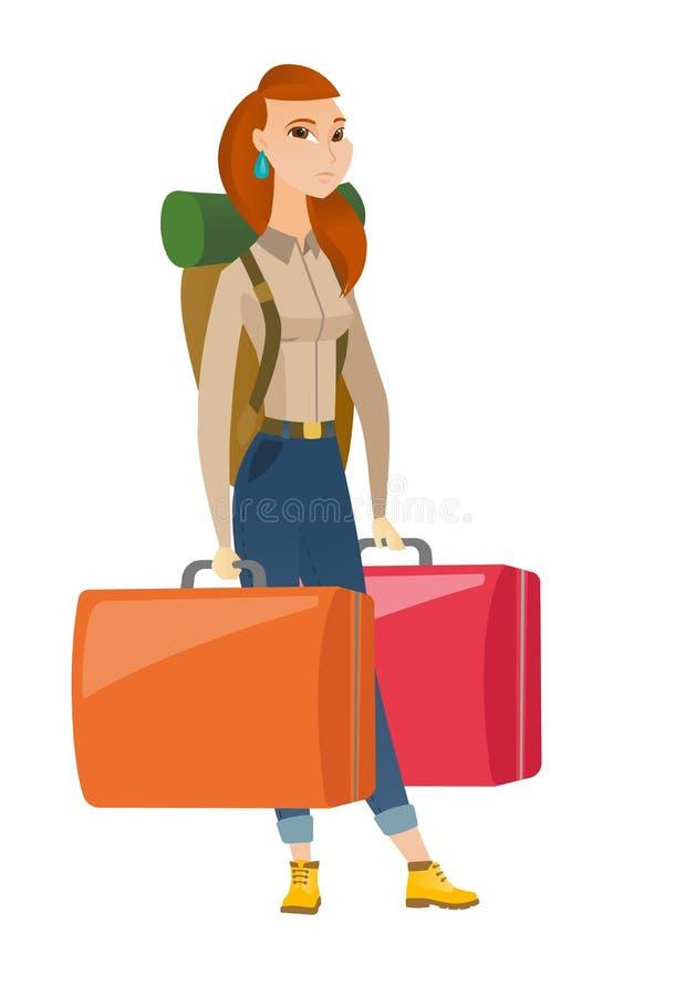 Enttäuschter Tourist, der zwei große Koffer hält lizenzfreie abbildung