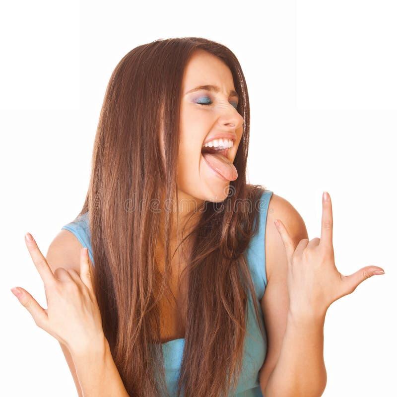 Entusiastisk och lycklig kvinna royaltyfri bild
