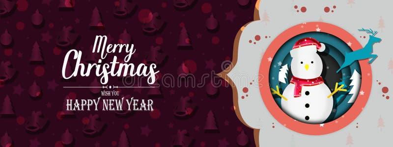 Entwürfe der frohen Weihnachten und des guten Rutsch ins Neue Jahr der Netzfahne lizenzfreie abbildung