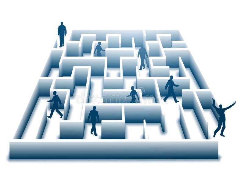 Entweichen des Büro-Labyrinths stock abbildung