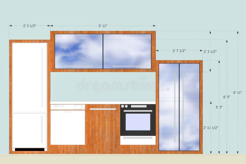 Entwerfen einer Küche stock abbildung. Illustration von lichtpause ...